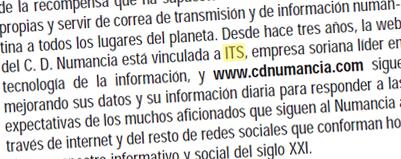 Reseña ITS Duero revista oficial C.D. Numancia