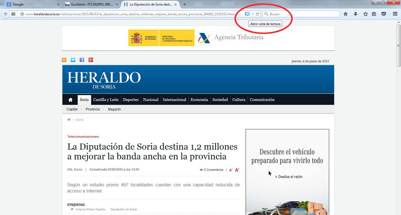 Vista de Lectura en Firefox 1