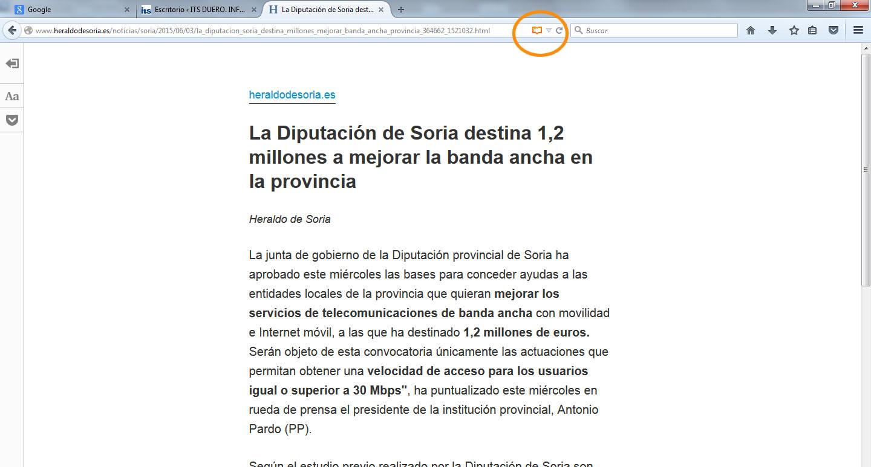 Vista de Lectura en Firefox 2