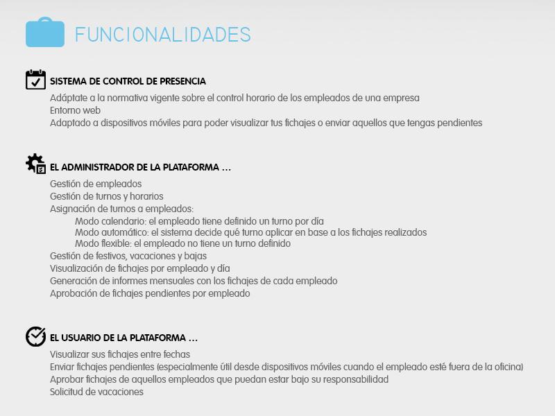 Funcionalidades ITS Time. Control de presencia web online